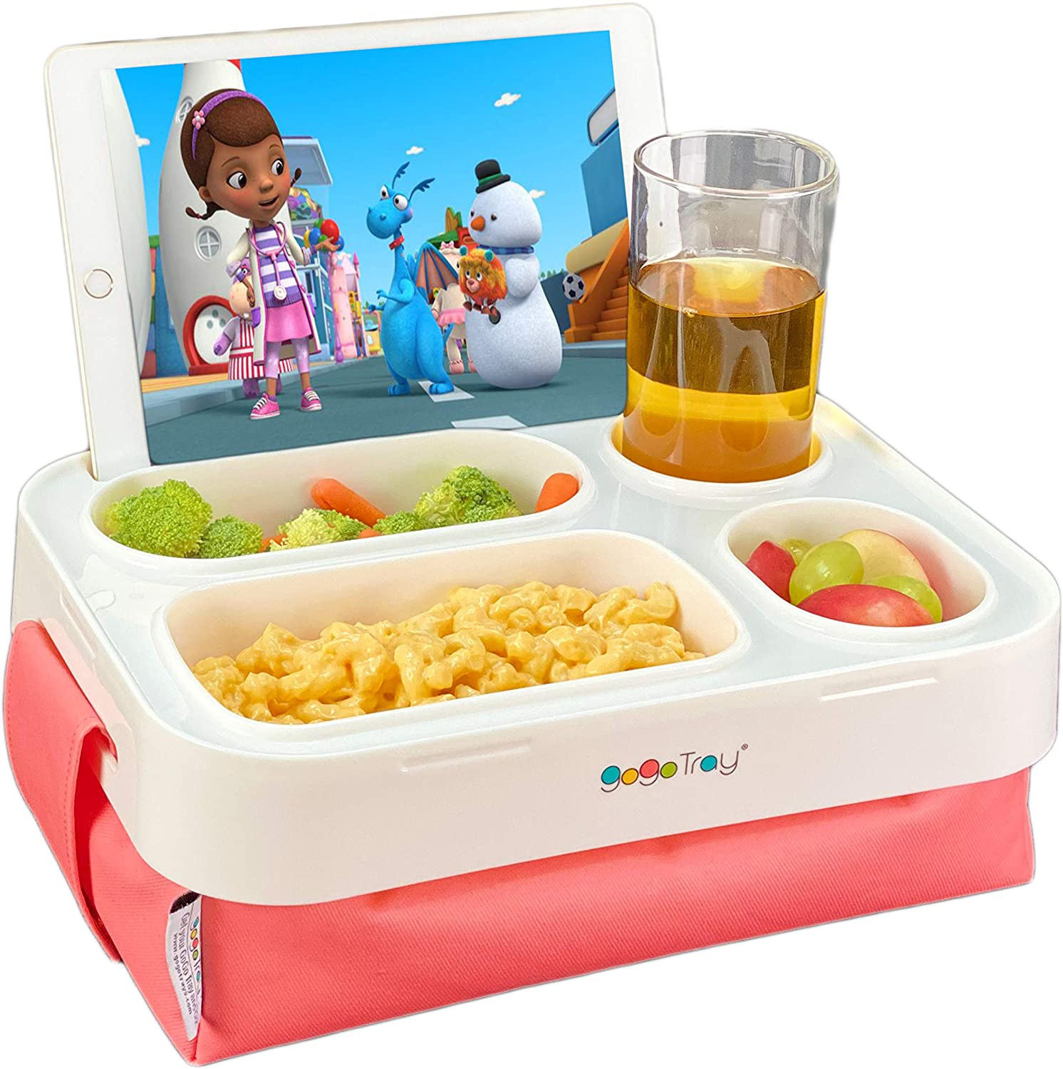 GoGoTray Portable GoGo Tray for Eating in the Car, On-The-Go or in Bed with Deep Built-in Bowls and Detachable Lap Cushion (Sundance)
