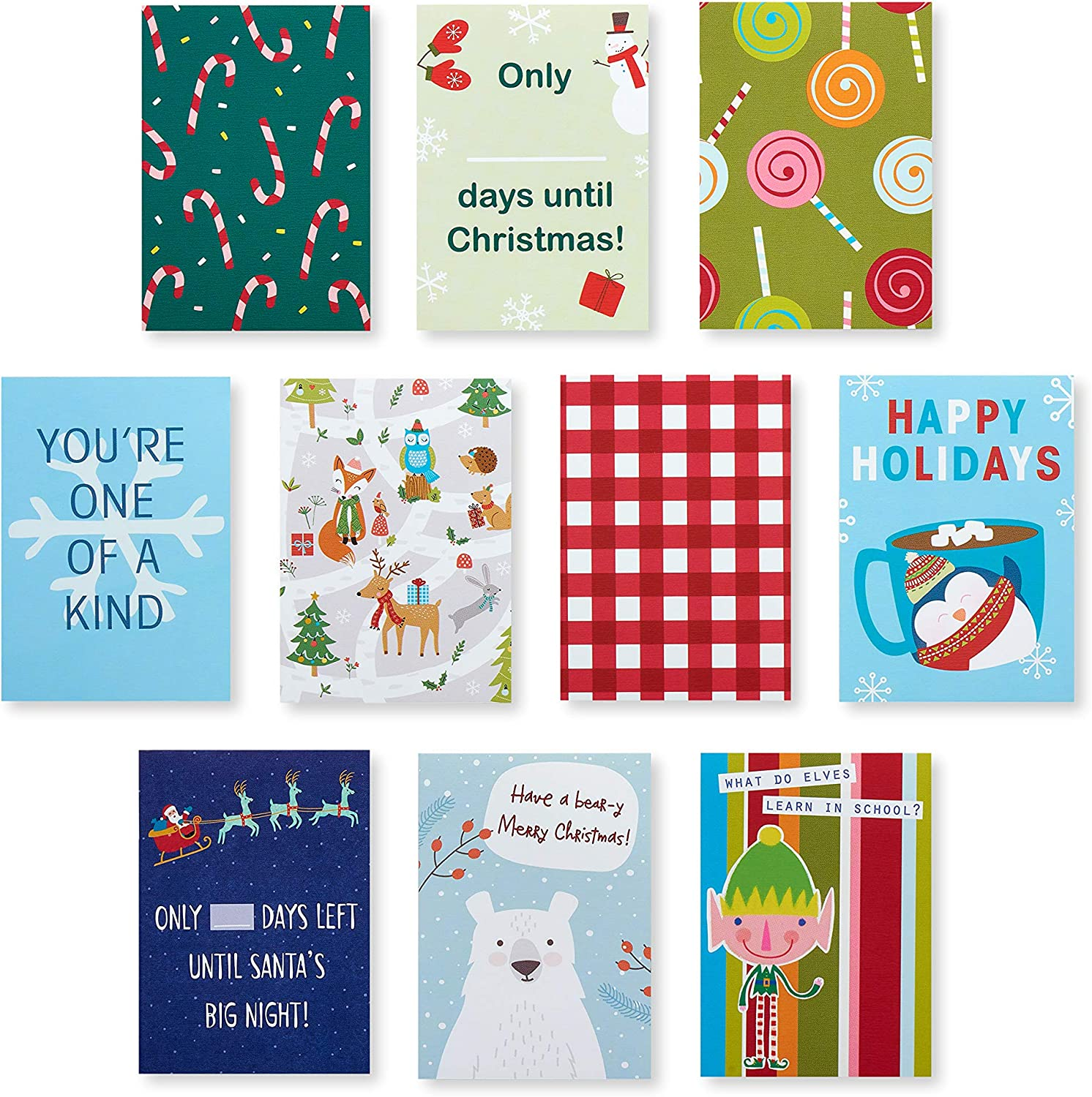 Holiday Cheer American Greetings Christmas Lunch Box Mini Notes 40-Count