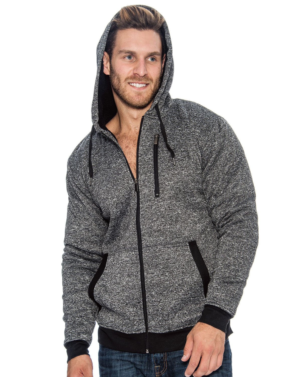 9 Crowns Essentials Men's Sherpa-Lined Hoodie Jacket-Heather Black-Small