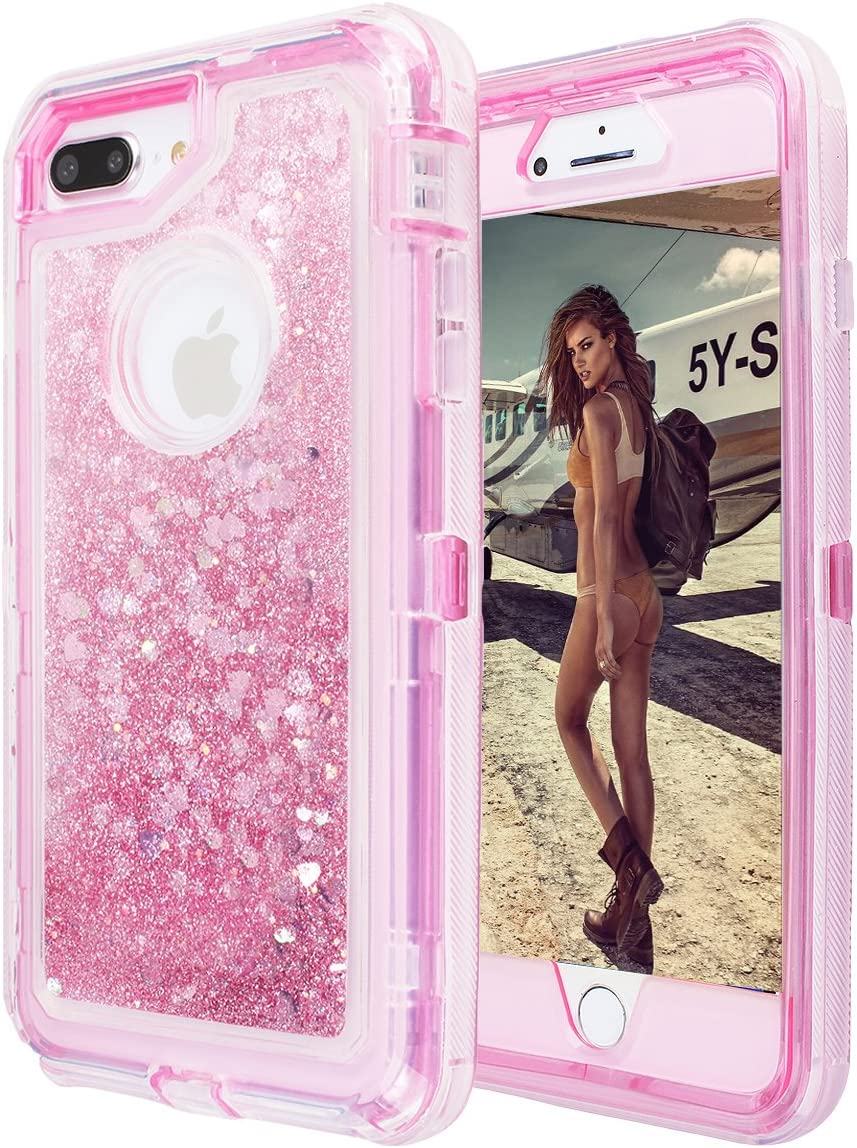 iPhone 8 Plus/7 Plus/6 Plus/6s Plus Glitter Sparkle Quicksand Case, AICase Heavy Duty 3 Layers Shockproof Hybrid Case 3D Star Flowing Liquid Floating Bling Cover for Apple 5.5''iPhone (Pink)