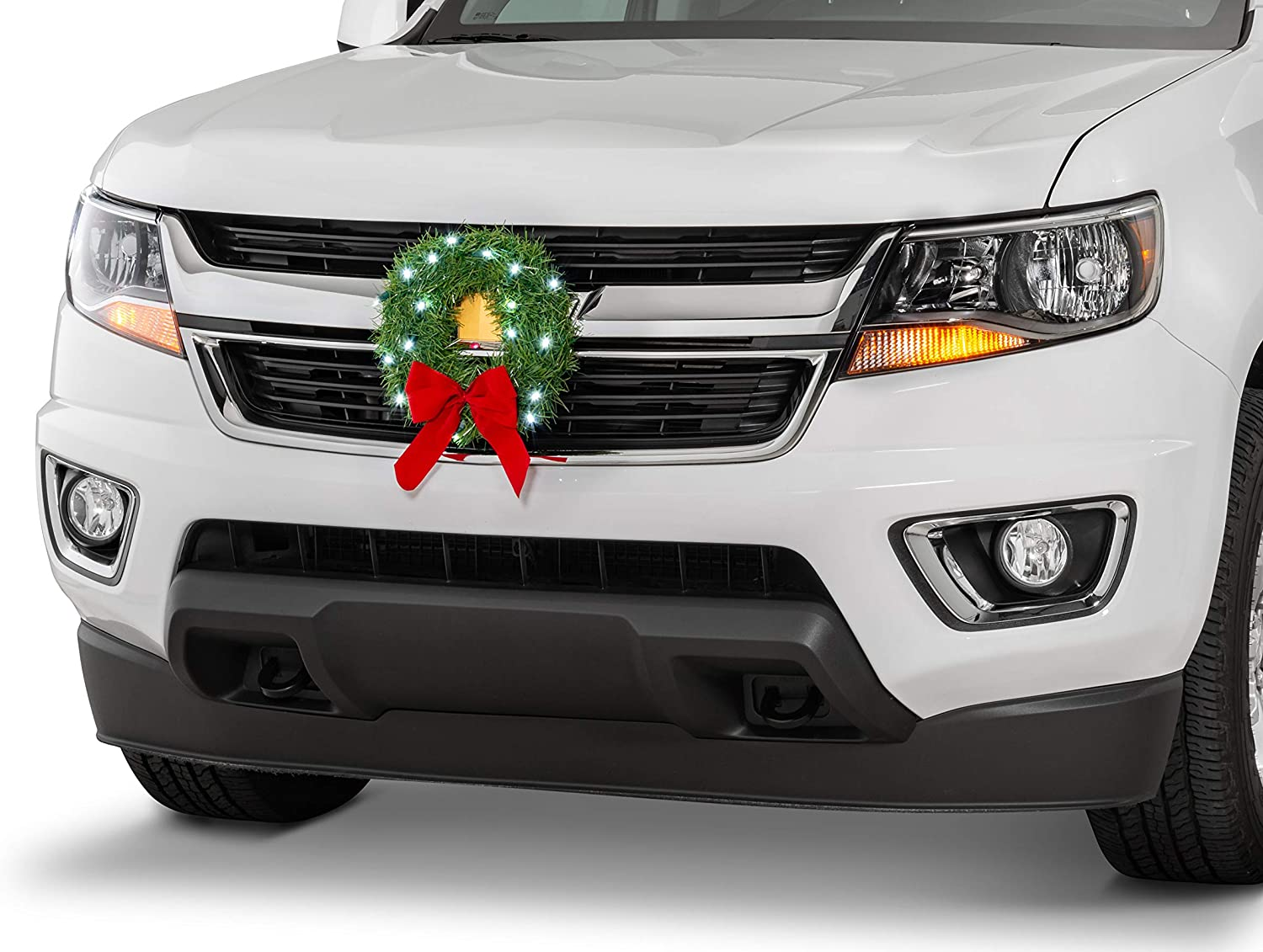 TACTIK Christmas Wreath for Car, Truck, or SUV | 12-Volt LED Lighted | Weather Proof | Fits any Automotive Cigarette Lighter Outlet | Mounting Equipment Included | Mounts to Car or Truck Grille