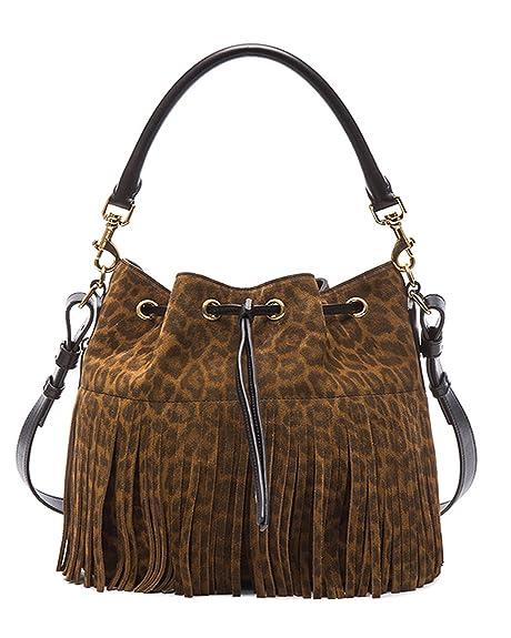 75f8fe4e531 SAINT LAURENT 'YSL' Emmanuelle Fringed Sac Bucket Bag Leopard Print Suede  Leather Shoulder Handbag Purse 340240: Amazon.ca: Shoes & Handbags