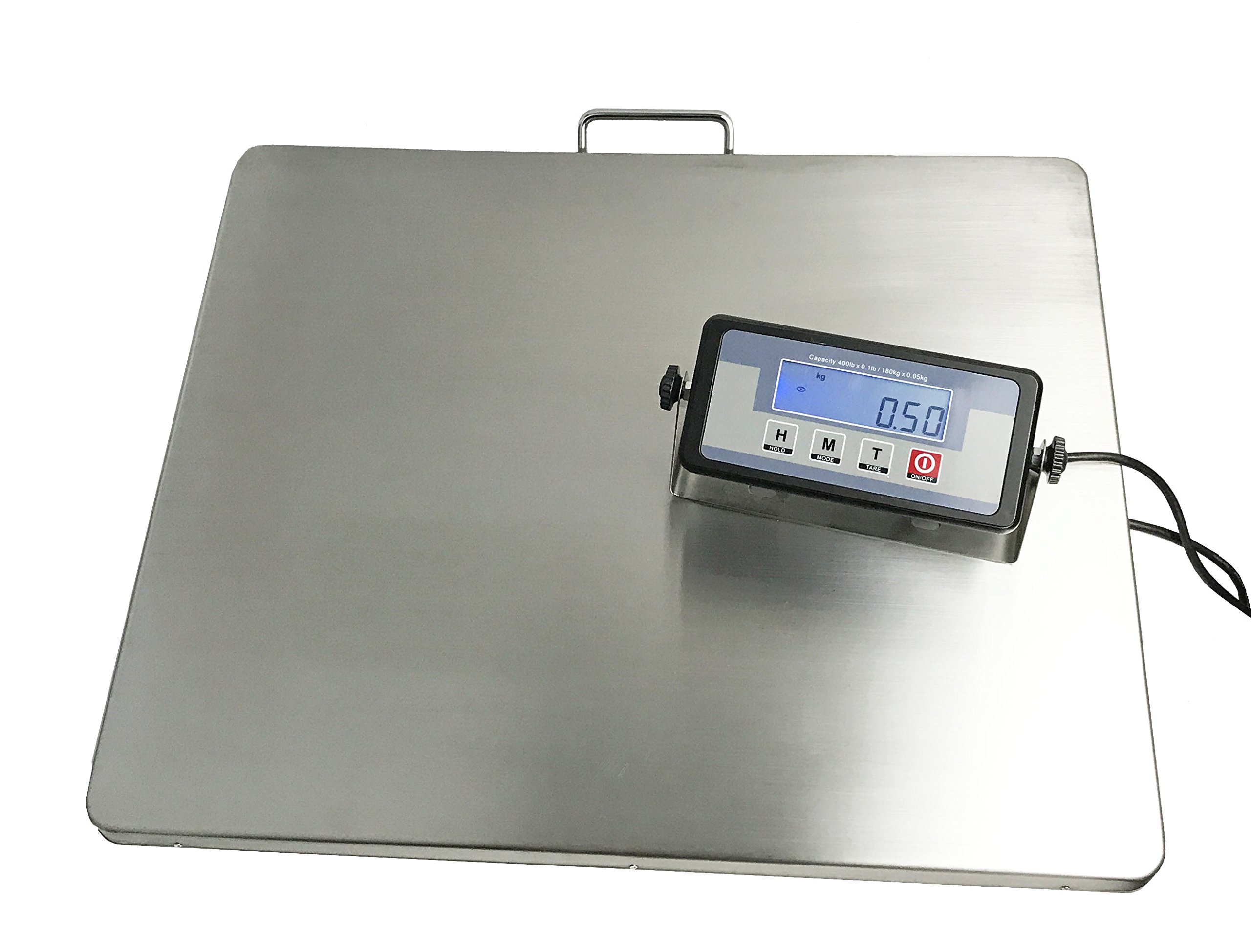 Angel USA Extra Large Platform 22'' x 18'' Stainless Steel 400lb Heavy Duty Digital Postal Shipping Scale, Powered by Batteries or AC Adapter, Great for Floor Bench Office Weight Weighing