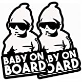 Funny Baby On Board Vinyl Sticker | 2-Pack Hangover Car Decal | 3x5 Baby On Board Sticker | Blue Giraffe Inc Decals | Made in USA