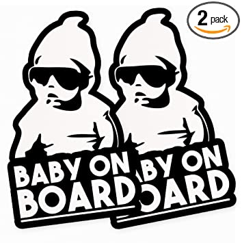 Amazon.com: Calcomanía de vinilo divertido para bebé a bordo ...