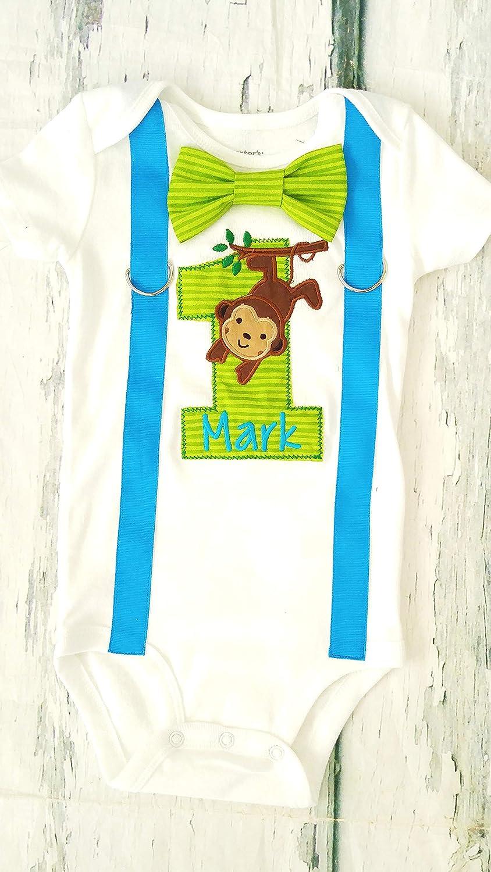 Enjoyable Amazon Com Baby Boy First Birthday Blue Monkey And Tree 1St Personalised Birthday Cards Veneteletsinfo