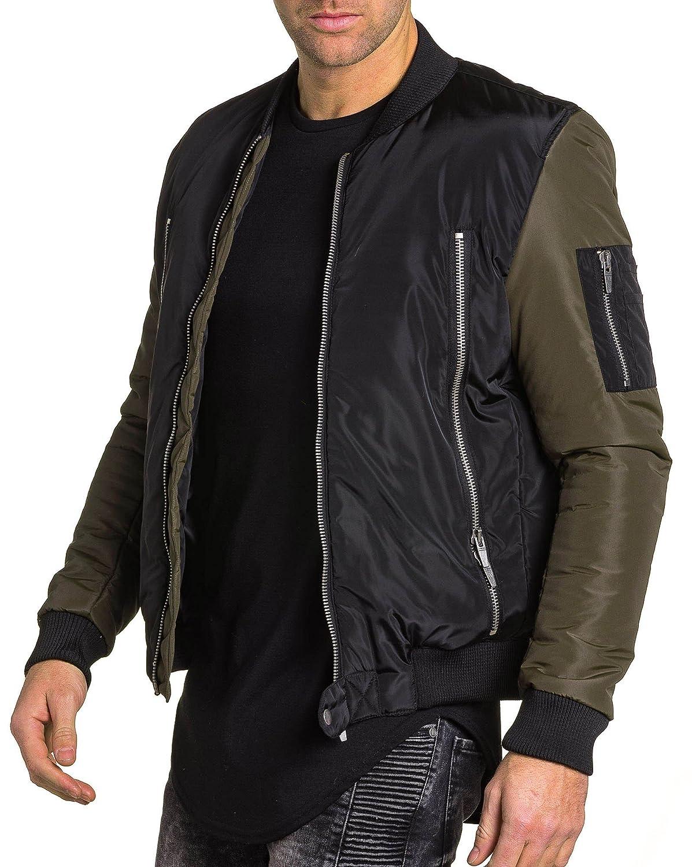 BLZ jeans - Bomber jacket two-tone black khaki zip