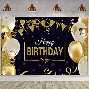 Happy Birthday Backdrop Banner Extra Large Black and Gold Sign Poster for Men Women Birthday Anniversary Party Photo Booth Backdrop Background Banner Decoration Supplies