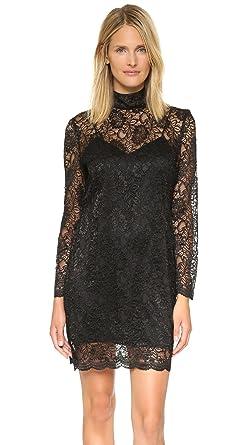 561989e2b73 The Kooples Women's Laminated Lace Dress, Black 1 (SM) at Amazon ...