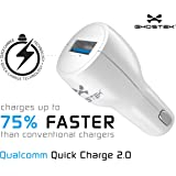 Ghostek NRGcharge QuickCharge 2.0 Rapid High-speed Fast Quick Car Charger Adapter with Micro USB Data Charging Cable | Smartphones | Tablets | Samsung Galaxy | Android | LG | Warranty (White)
