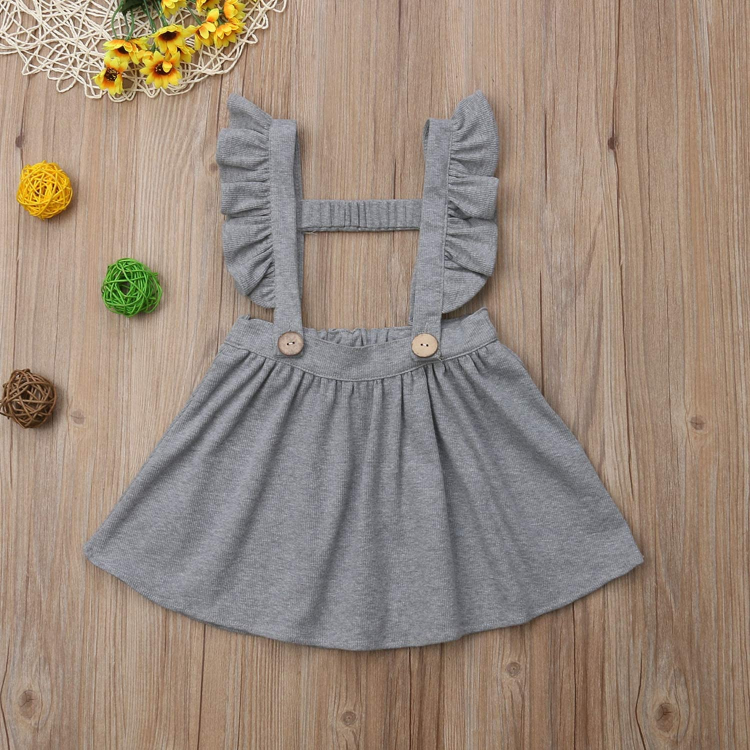 Beancan New Baby Outfit New Toddler Baby Kids Girl Strap Suspender Skirt Overalls Skirt Outfit Clothes 0-5T Gray