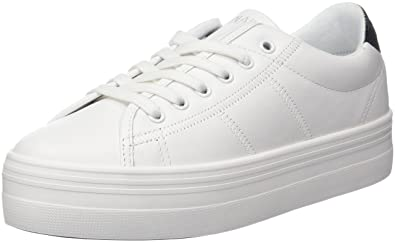 No Name Plato Sneaker Nappa/Patent, Baskets Basses Femme, Blanc (White/Black), 40 EU