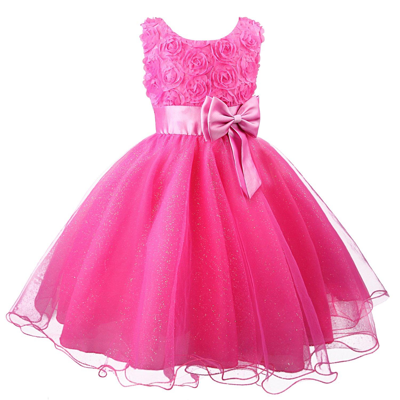 Girl Kids Lace Flower Bridesmaid Party Princess Prom Wedding Christening Dress