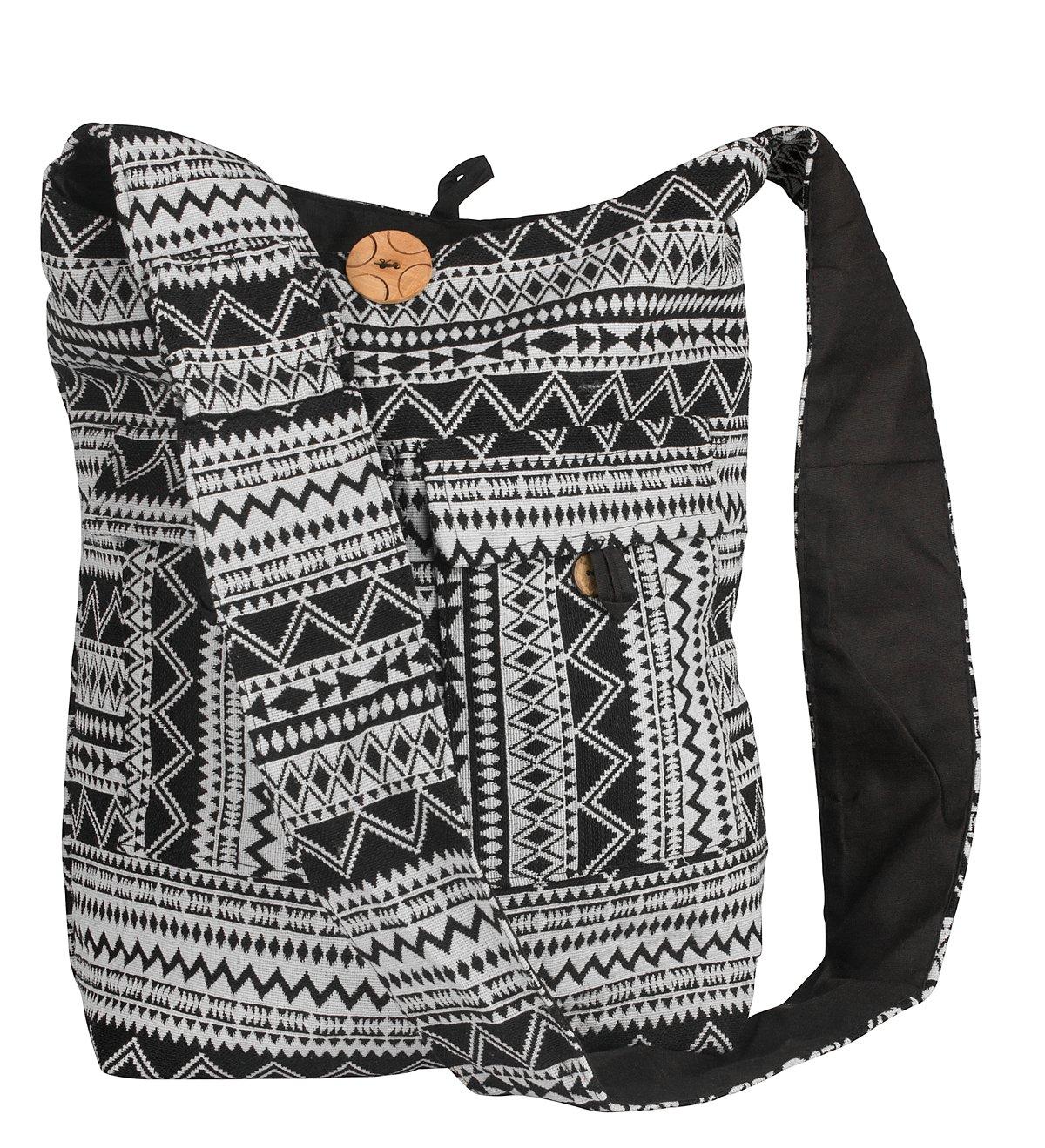 Tribe Azure Large Hobo Crossbody Sling Shoulder Bag Compartment Pockets Functional Zipper Travel Market Books Blanket (Black White)