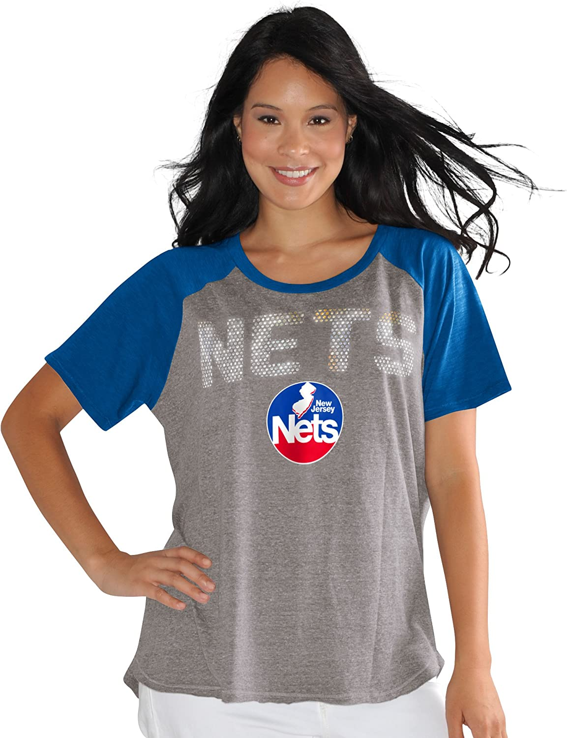 3X Touch by Alyssa Milano NBA New Jersey Nets Conference Tee Plus Heather Grey