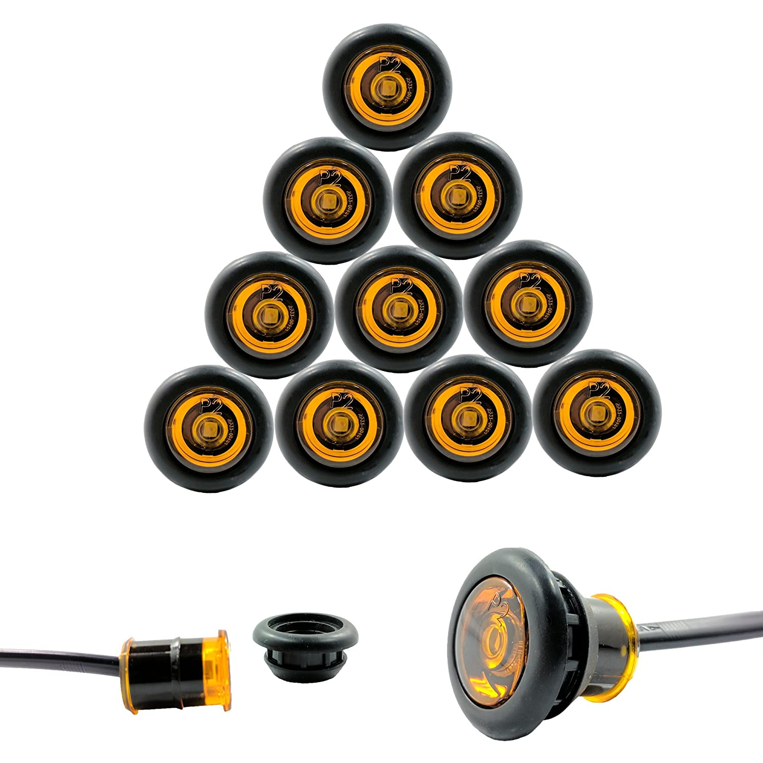 """10 Pack - Amber TecNiq USA Made 3/4"""" LED Clearance Marker Bullet Grommet Lights (P2 Rated) Inc"""