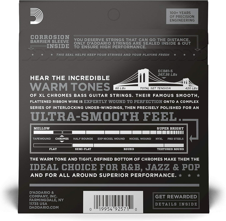 Light Long Scale 45-132 DAddario ECB81-5 5-String Bass Guitar Strings
