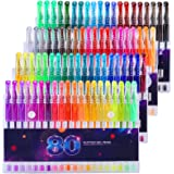 Glitter Pens, Glitter Gel Pens Set, 80 Colors Neon Markers Pen for Adult Coloring Book Doodling Scrapbooking DIY…