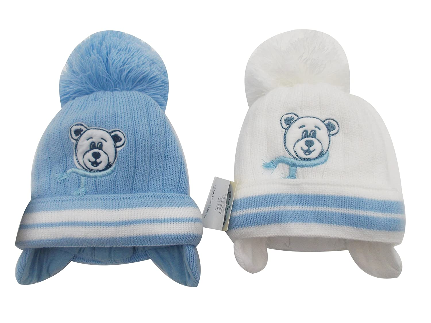 BNWT boys warm winter little ted bobble hat in blue or white 0-3 3-6 Months (3-6 months, White) Barbarac