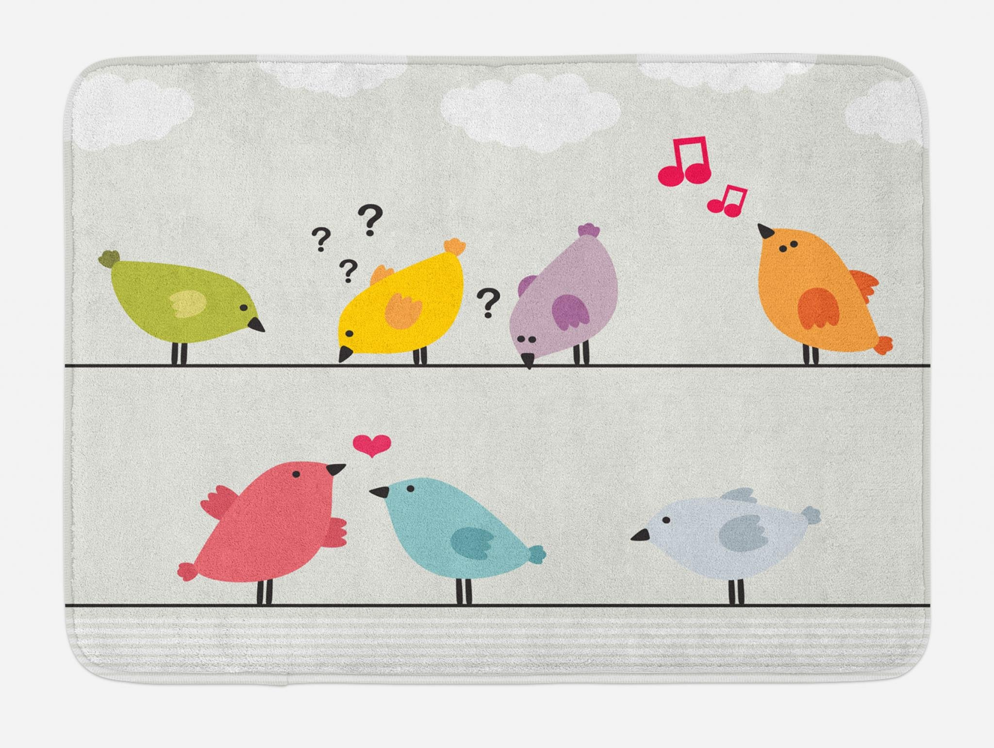 Lunarable Birds on a Wire Bath Mat, Colorful Funny Animals Singing Searching and Falling in Love, Plush Bathroom Decor Mat with Non Slip Backing, 29.5 W X 17.5 W Inches, Eggshell and Multicolor