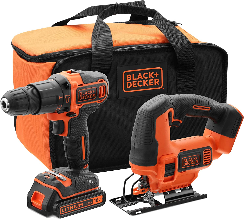 BLACK+DECKER BCK22S1S-QW - Taladro percutor 18V y sierra de calar 18V con 1 batería 1.5 Ah, cargador y bolsa de transporte