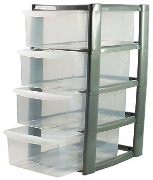 Aufbewahrung Schubladen silber mini tower einheit 4 etagen schublade aufbewahrung schubladen