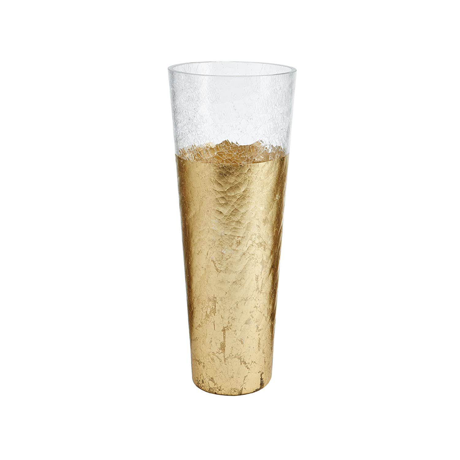 Mikasa 5194525 Crackle Gold Glass Hurricane Candle Holder, 6-inch-by-10-Inch Lifetime Brands