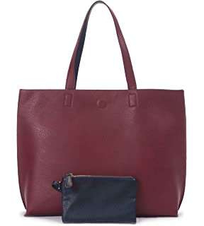 ed273fa206 Overbrooke Reversible Tote Bag - Vegan Leather Womens Shoulder Tote with  Wristlet