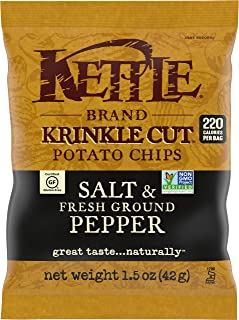 product image for Kettle Brand Potato Chips, Krinkle Cut Salt and Fresh Ground Pepper, Single-Serve 1.5 Ounce (Pack of 24)