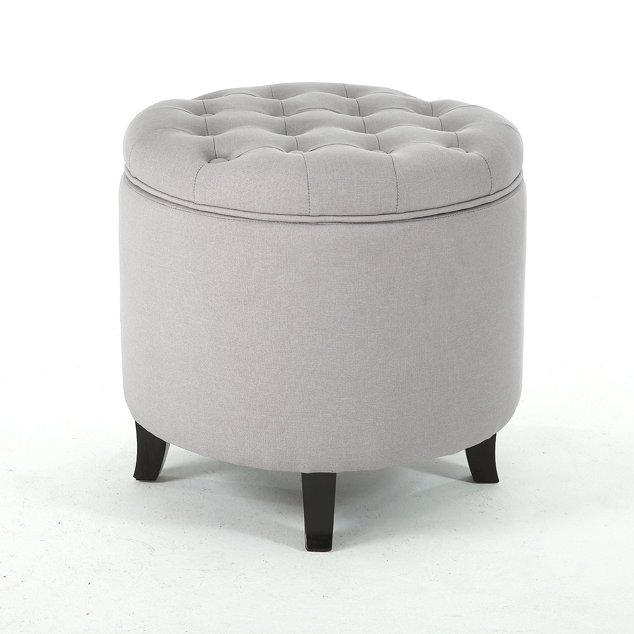 NEW Large Round Tufted Ottoman Footstool Seat Living Room Bedroom - Gray + FREE E-Book