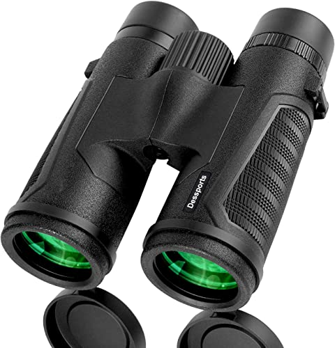 Dessports Binoculars for Adults Bird Watching – 18mm Large Eyepiece – Compact Lightweight Low Light Vision Powerful with Crystal Bright BAK4 Prism – 12×42 Binocular for Hunting Hiking Sports Concerts