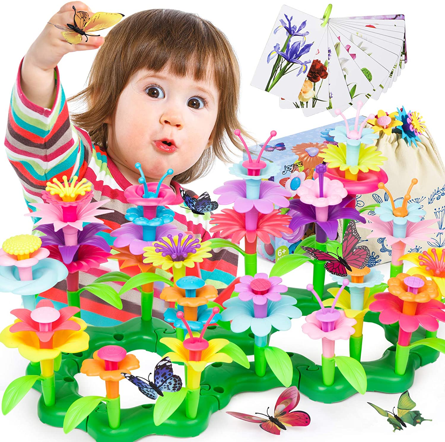 Joyjoz Flower Garden Building Toys, Educational Toys for 3 4 5 6 Year Old Girls' Gifts, Pretend Gardening Toys, Build a Bouquet Set for Toddler Kids, with Butterflies, Flash Cards, Storage Bag(123Pcs)
