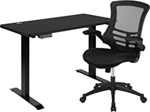 "Flash Furniture 48""W x 24""D Black Electric Height Adjustable Stand Up Desk with Black Mesh Swivel Ergonomic Task Office Chair"