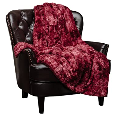 Chanasya Faux Fur Throw Blanket   Super Soft Fuzzy Light Weight Luxurious Cozy Warm Fluffy Plush Hypoallergenic Blanket for Bed Couch Chair Fall Winter Spring Living Room (60  x 70 ) - Maroon