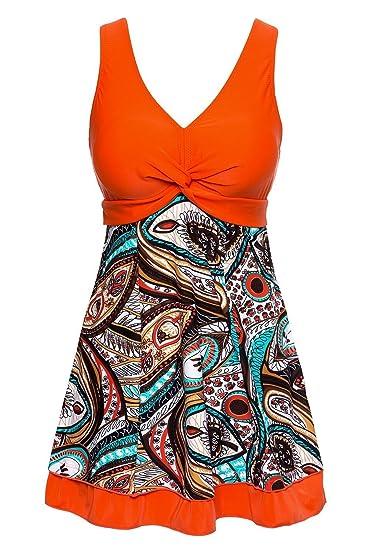 95e067ff97 Summer Mae Women's Shaping Body Swimsuit One-Piece Swimwear Spa Suit Size  Tag 4XL/UK Size XL,Orange: Amazon.co.uk: Clothing