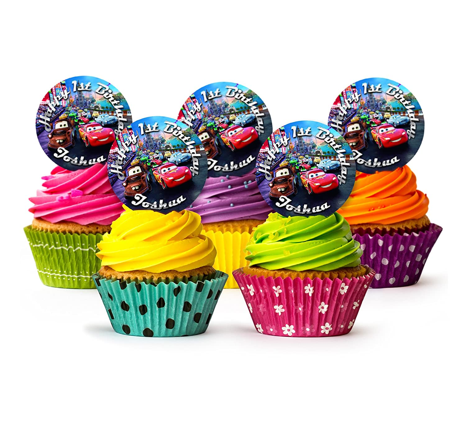 12 Disney Cars Cupcake Wrappers /& 12 Toppers kids Birthday party decoration