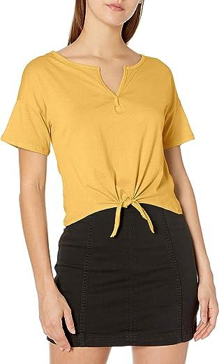 Tresics womens Split Neck Tie Front Top T-Shirt
