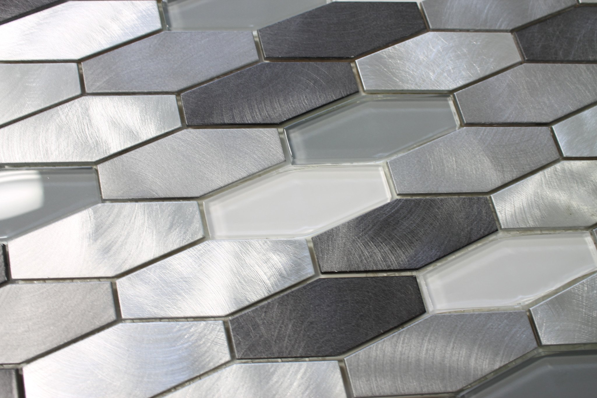 10 Square Feet - Metro Long Hexagon Brushed Aluminum and Glass Mosaic Tiles