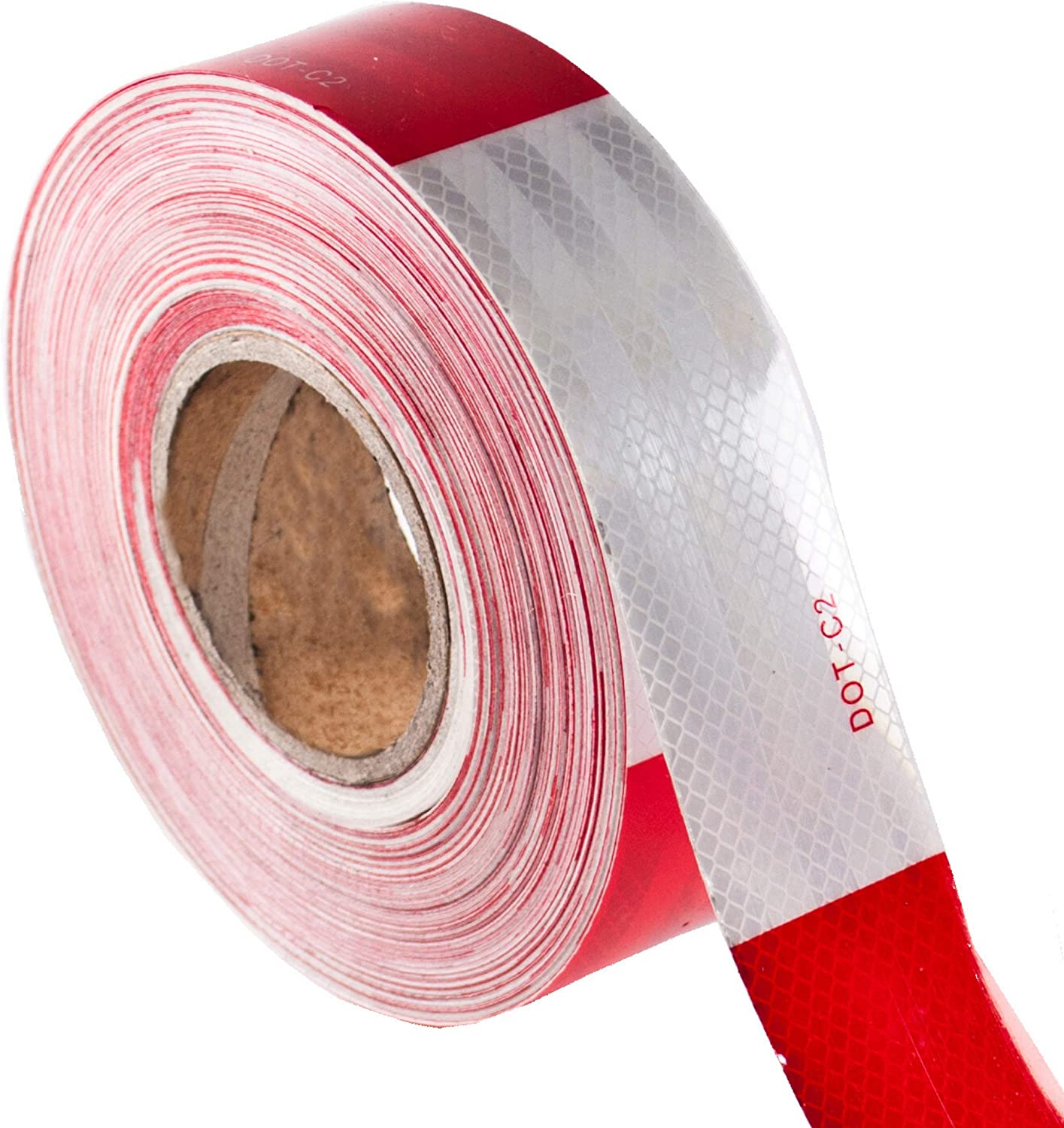 Outdoor Cars Boats Trucks Waterproof Red and White Adhesive Conspicuity Tape Caution Tape Roll for Trailer Signs Vehicles Reflective Tape 2 Inch x 148 Feet