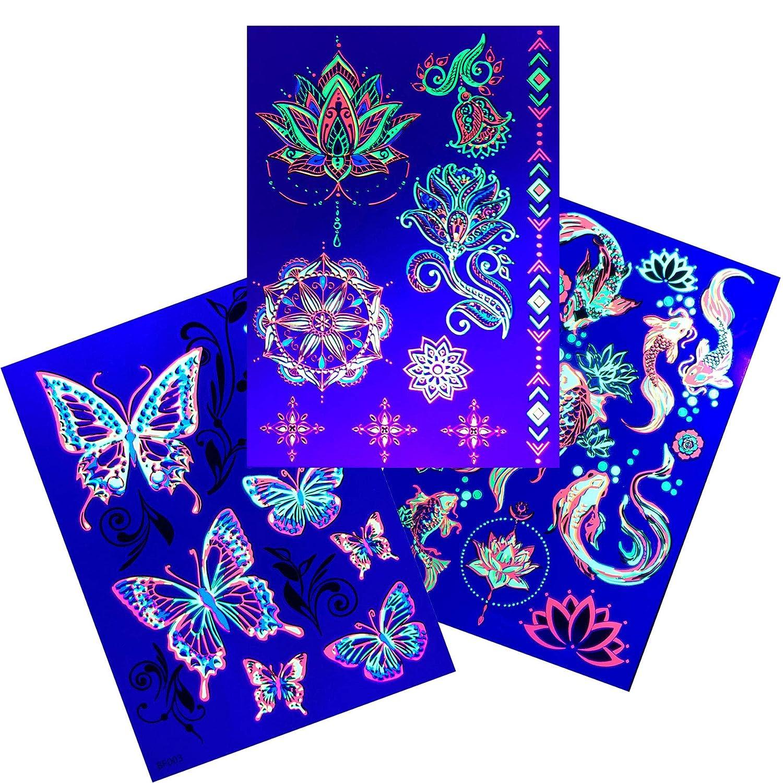 d'IRIS studio Temporary Tattoos – 3 Sheets Lotus Butterfly Koi Fish Design Body Art | Blacklight Light Reactive Light Festival Accessories Glow Party Supplies