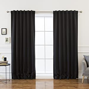 Best Home Fashion Premium Thermal Insulated Blackout Curtains - Back Tab/Rod Pocket - Black - 52