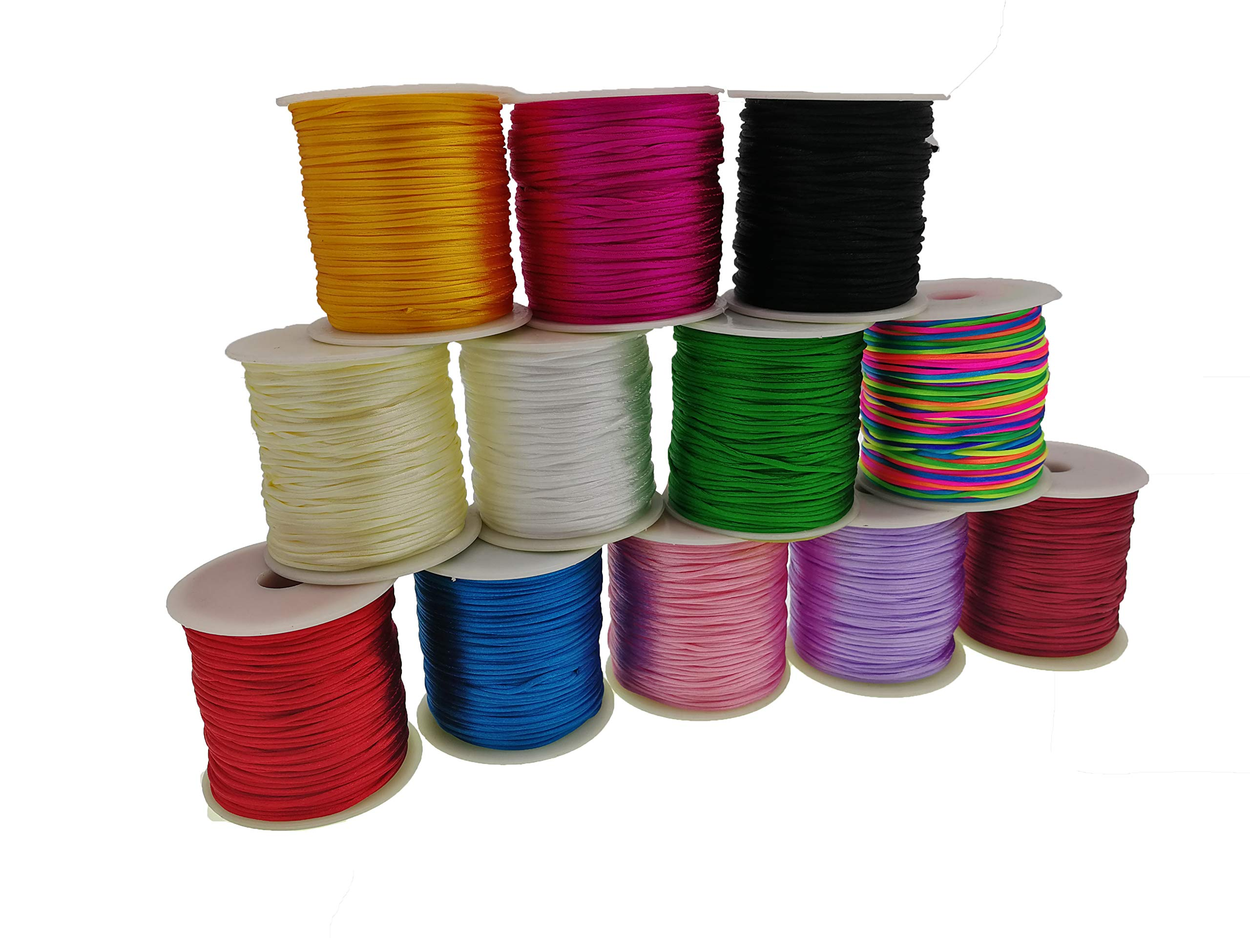 10 Yards Each Color, Bright Colors Inspirelle 10-Color 1.8mm Satin Nylon Trim Cord Rattail Silk Cord Chinese Knot Thread for Jewelry Making