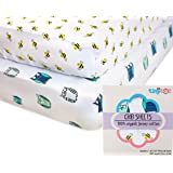 Crib Sheets - 100% Organic Jersey Cotton   2-Pack   Cute Design for Boys & Girls