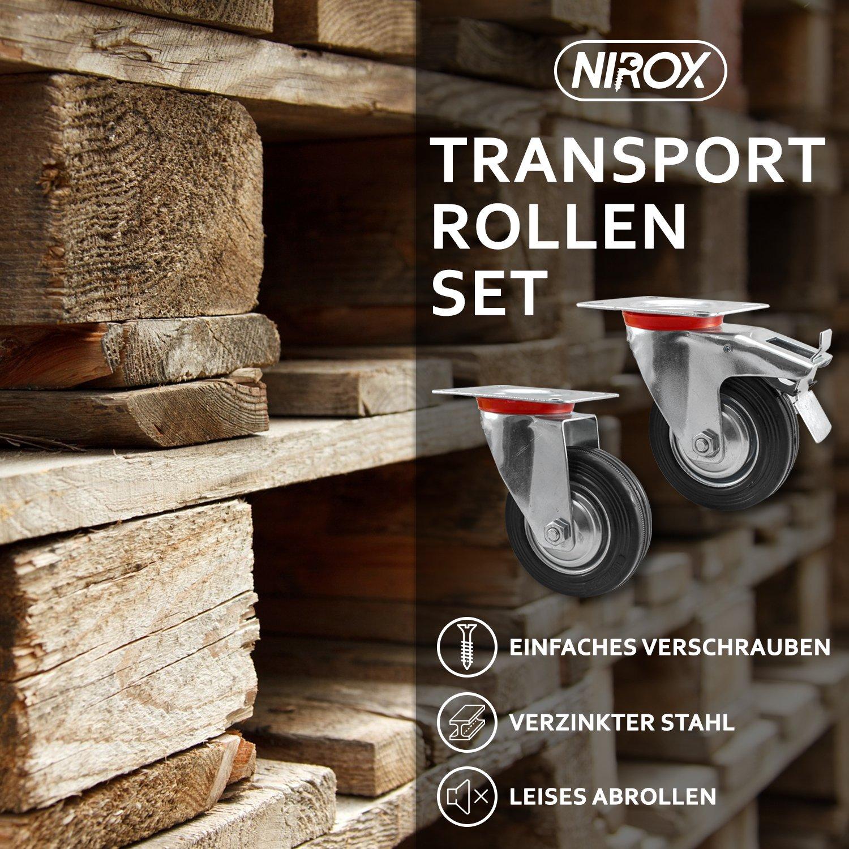 Mit Bremse 95mm Gesamth/öhe Vollgummi Nirox 4x Transportrollen im Set 100mm bis 280kg