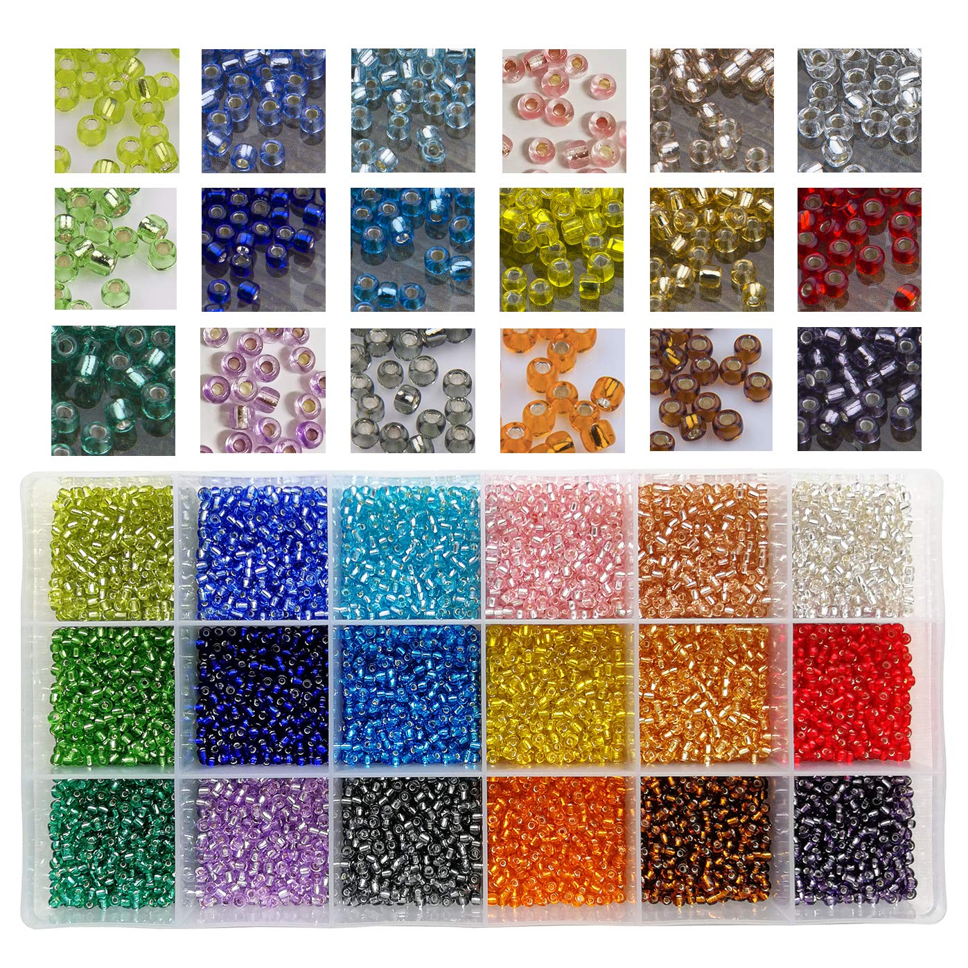 18 Colors Round Silver Lined- 3mm