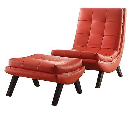 Amazon.com: Tustin Lounge silla y otomana, Metal, Rojo ...