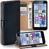 Nokia Lumia 630 Hülle Schwarz mit Karten-Fach [OneFlow 360° Book Klapp-Hülle] Handytasche Kunst-Leder Handyhülle für Nokia Lumia 630/635 Dual SIM Case Flip Cover Schutzhülle Tasche