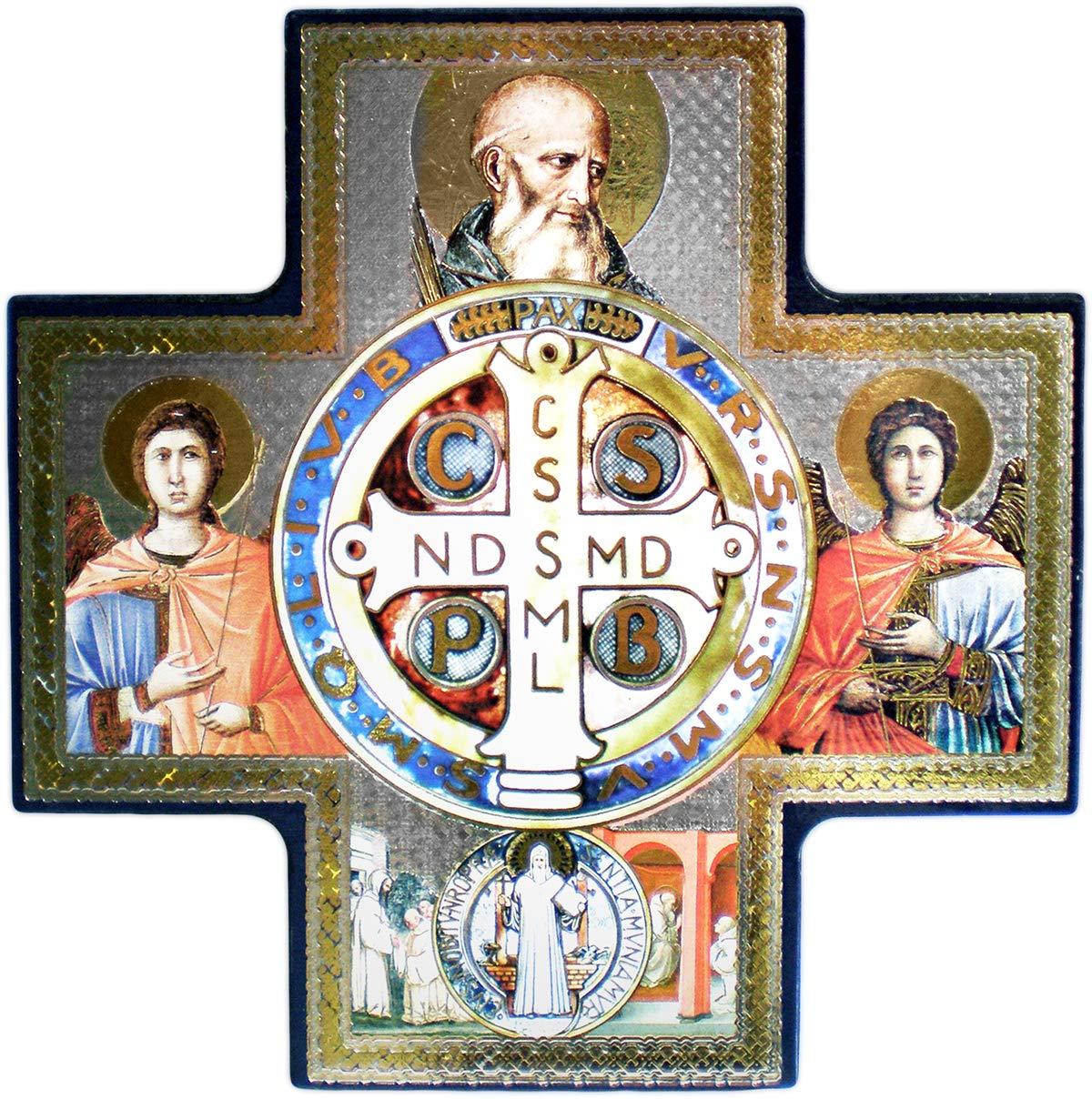 Christ-en-or Croix Polychrome Saint Benoit 14, 5 cm - Crucifix décoratif