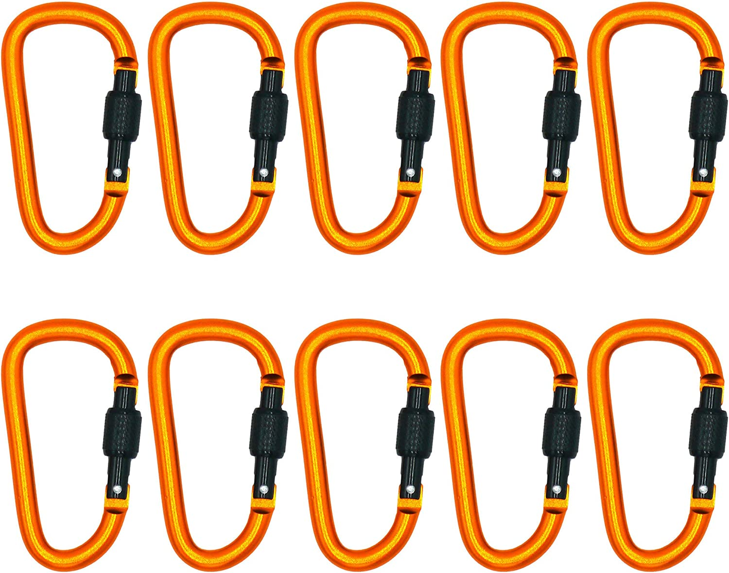 PLX Screw Locking Carabiner Clip Aluminum D-Ring 10 Pack Orange with Black Lock