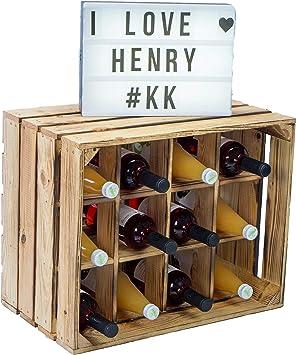 Caja kolli Altes Land Botella estante Henry/natural/, vetado tamaño aprox. 50 x 40 x 30 cm Caja botella estante Botellero Estantería manzana caja/vino caja: Amazon.es ...